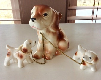 Vintage Mother Dog with Puppies on a Gold Leash