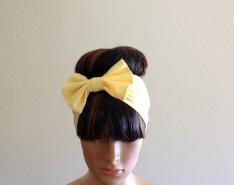Yellow Bow Head Wrap. Bow Headband