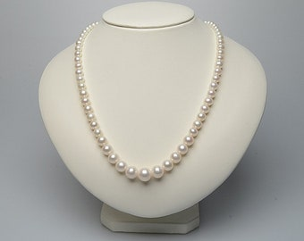 "AAAA White Pearl Necklace 18"" Japanese Graduated Freshwater Pearl Necklace 5-9mm Necklace Pendant Mother's Day Gift Free Shipping"