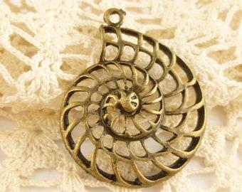 Antiqued Bronze Nautilus Shell Pendant (2)