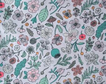 Rico Design cotton fabric fat quarter - floral print - neon accents - summer fabric