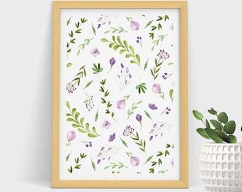 Wall Art Print, Purple Flowers Pattern, Watercolor Print, Floral Print, Pattern Decoration, Pattern Art, Pattern Decoration, Botanical Print