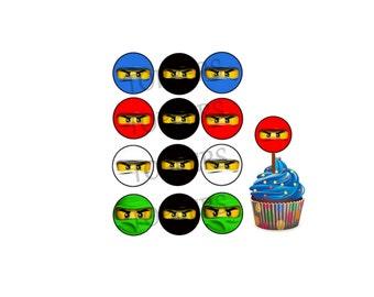 Cupcake toppers NINJAGO Birthday DIY Printable tea party or birthday digital printable digital