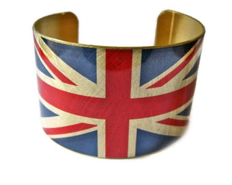 United Kingdom FLAG brass cuff bracelet UK British Union Jack Heritage Gifts for her