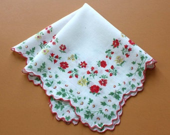 Vintage Handkerchief with Rose and Daffodil Design