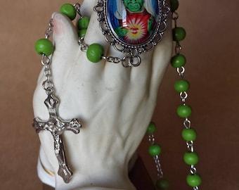 St Frankenstien Rosary Green Beads
