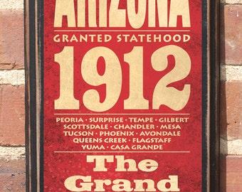Arizona AZ State Wall Art Sign Plaque Gift Present Home Decor Custom Personalized Color Vintage Style Phoenix Tucson Flagstaff Yuma Antique