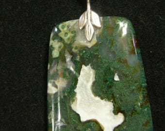 American Moss Agate with Crystal Druzy Center Pendant