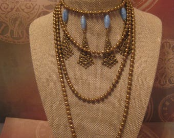 Saloon Gal cosplay necklace/ 1920's Flapper Necklace Vintage/ 1920's Sautoir Necklace/ Vintage Brass Beaded Flapper Necklace
