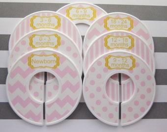Custom Baby Closet Dividers Pink Ivory Gold Tone Closet Dividers Baby Girl Nursery Baby Shower Gift Closet Organizer