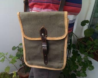 Vintage Officer Bag, Shoulder Military Canvas Bag, Army Bag, Khaki Canvas Bag from 1950 s, Messenger Bag, Bag USSR type Cold War