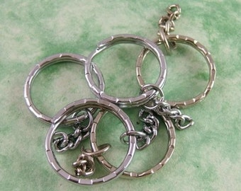 15 One-Inch Silvery Key Rings - 1 inch Diameter - Key Chain - DIY