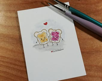 OOAK Mini Doodle Painting of Peanut Butter and Jelly