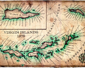 virgin islands map art print c1780 11 x 17 st