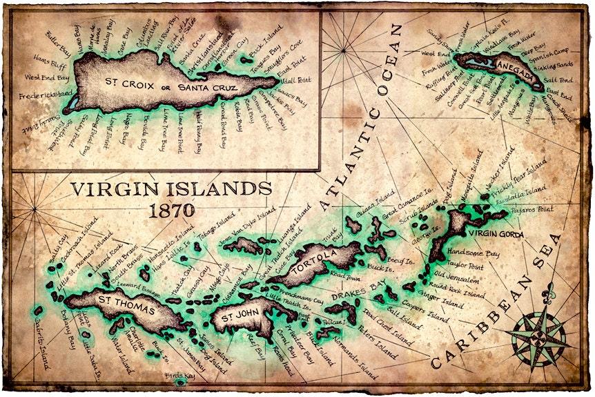 Virgin Islands Map Art Print c1780 11 x 17