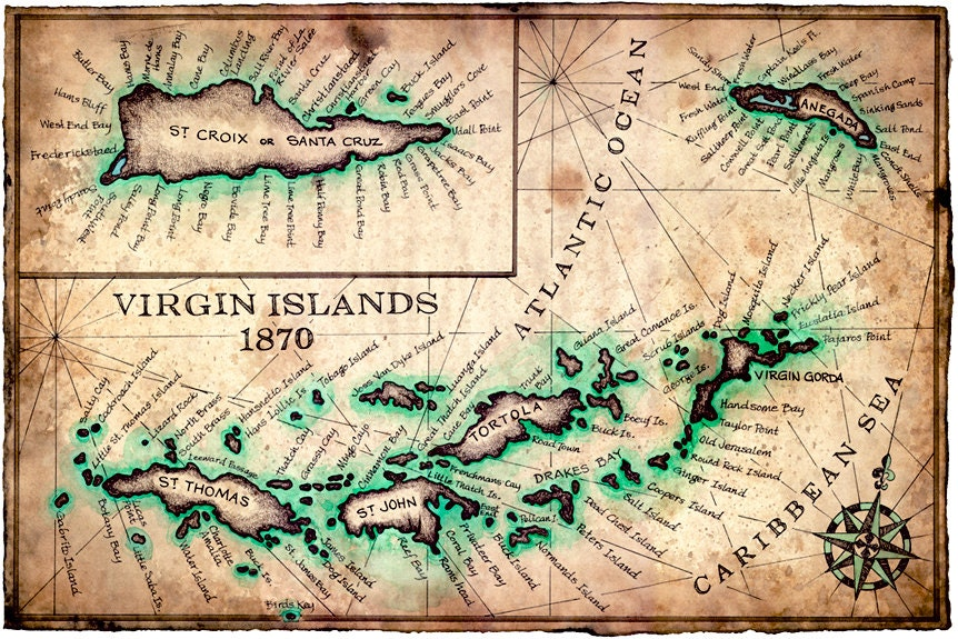 Virgin islands map art print c1780 11 x 17 zoom publicscrutiny Gallery