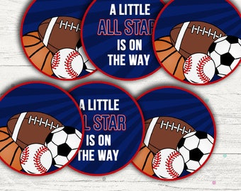 All Star Sports Baby Shower Baby Boy Includes Editable Baby