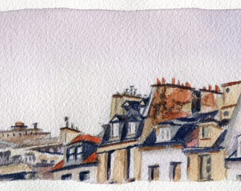 4x9.75 Original Watercolor Painting - French Rooftops