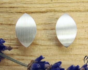 Earrings Silver 925 /-, Navette stroke Matt, 12 mm