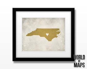 North Carolina Map Print - Home Town Love - Personalized Art Print