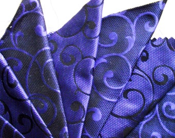 NAVY BLUE & COBALT......8 x Jacquard Damasks....14 x 12 cm...100% Silk
