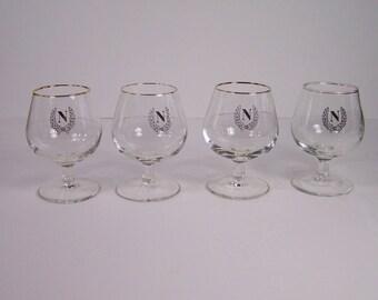 4 Cognac glasses Napoleon golden edge N and laurel crown vintage  Made in France