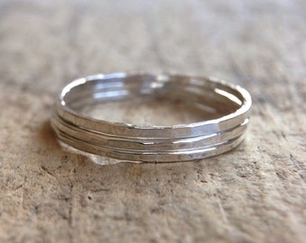 Three Stackable Rings, 3 Rings, Sterling Silver Ring, Stacking Ring, Skinny Ring, Gift For Her, Bohemian Ring, Bohemian Jewelr