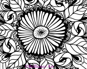 Daisy Adult Coloring Page, INSTANT DOWNLOAD, flower design, printable PDF