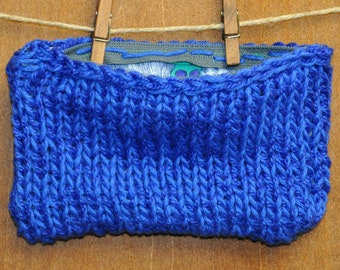 Knit Pouch with Zipper and Lining in Blue Raspberry