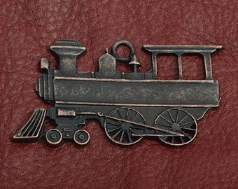 Steam Engine Railroad Stamping, Cast and plated copper antique ,  each 15836CO