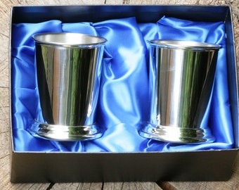 Pair of Julep Cup English Pewter Presentation Boxed Gift