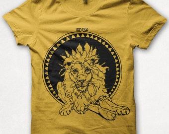 Kids Tshirt Leo the Lion Shirt Boys Tee Girls Shirt Screenprinted Childrens Clothing - Golden Yellow