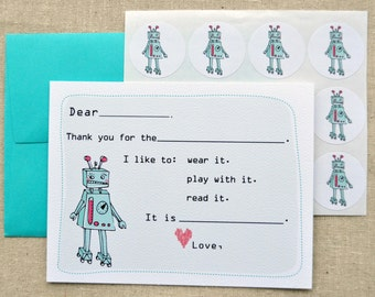 Girl Robot Fill-in-the-Blank Thank You Notes Gift Set with Stickers
