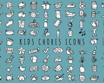 Kids Chores Icons Set [Black & White Version] - daily tasks, organizer clipart, chore chart clipart, hand drawn clipart, printable stickers