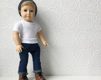 AG Boy Doll, Cool Boyfriend or Brother, Blond Hair & Blue Eyes, 18 inch, Blue Jeans, Lace-up Boots and Beanie, OOAK, Pleasant Company, Vinyl
