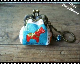 Dala horse Red Trojan---Mini cute coin purse with key-ring // GinaHandMade