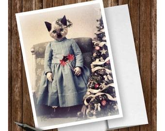 "Cat Christmas Card Handmade, Siamese Kitten, Blank Greeting Card, Original Holiday Art Card, Christmas Gift, 5 x 7, ""Kit's First Christmas"""