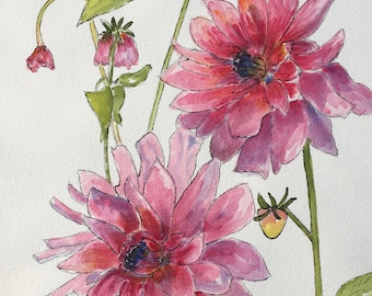 Dahlias - Original watercolor