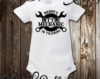 Baby Onesie Garage With Daddy Mechanic Tools Car Daddy's Little Mechanic In Training New Dad Baby Shower Gift Nursery Baby Clothing Gerber