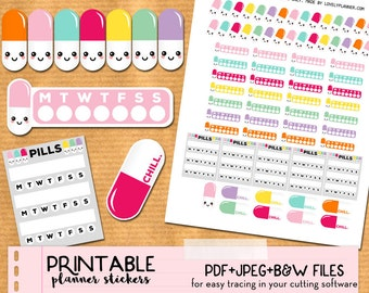 Kawaii Pills medication intake tracker Stickers set for ECLP - Printable Planner stickers, Print and Cut stickers for ECLP, Filofax...