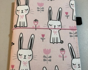 MINI HAPPY PLANNER Sized Book Cover ~ Bunnies Pink Fabric Planner Cover