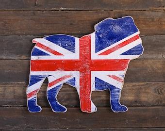 English Bulldog Art British Bulldog drapeau Union Jack signe chien Home Decor