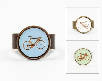 Bicycle Ring - Cyclist Jewelry - Laser Cut Engraved Wood in Adjustable Setting (Choose Your Color / Made To Order)
