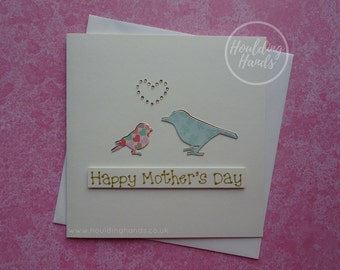 Handmade Mother's Day Card - Mum and Daughter bird card - Handmade Card for Mum - Card for Mom - Happy Mother's Day Card - Mom and baby bird