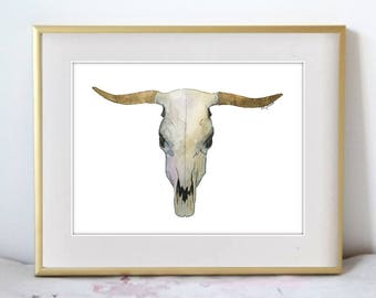 Long Horned Skull - Boho Illustration Watercolor Painting Print - Home decor and wall art antler