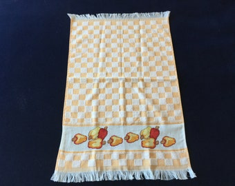 Kitchen Towel with an Orange Tile & Cashew Design