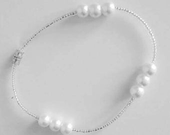 Pearls Beaded Anklet - White Pearls Beaded Anklet