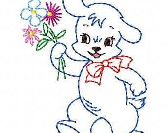 Baby Puppy  Machine Embroidery Design 4x4