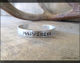 Cuff, Silver, Aluminum, Happiness, Stamped