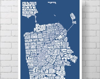 San Francisco Map Print - 18x24 San Francisco Typography Map with Neighborhoods and Landmarks, Word Map Art Print Poster Blue